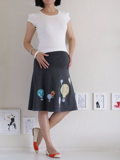 Hot Air Balloon Maternity Knee Length Skirt . Cotton Aline Skirt . by Zoesballoon
