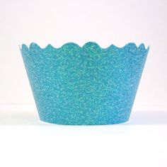 Sparkling Waters Blue Glitter Cupcake Wrappers