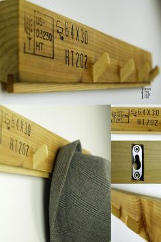 HANG TIGHT is a series of wall mount coat racks out of up-cycled HT (heat treated) pallet wood, locally sourced in our urban neighborhoods.  - Reclaimed heat-treated pallet wood, ash and red oak - 4 or 5 ash hooks - Solid metal wall mounts (fit most types of screws you would want to screw in your walls) - Three layers of all natural Danish oil, hand-rubbed. #coatrack #wood