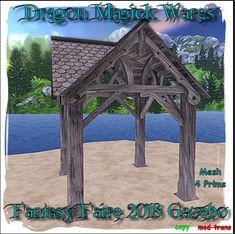 Dragon Magick Wares Gazebo Quest Gift Magick, Gazebo, Dragon, Outdoor Structures, Gift, Kiosk, Dragons, Witchcraft, Cabana