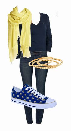 Notre Dame Game Day outfit:  Vineyard Vines Sweater Nordstrom Scarf  J. Crew bangles  Ralph Lauren Jeans And the perfect pair of sneakers for the perfect tailgating outfit #GoIrish #RowOneBrands #GameDay #Fashion