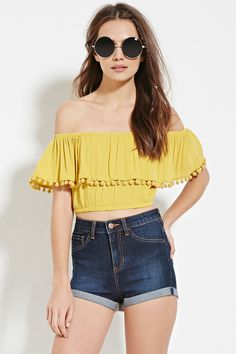Forever 21 Contemporary - A woven crop top from Life In Progress™ featuring a layered silhouette, pom-pom trim, an elasticzied hem, and off-the-shoulder short sleeves.