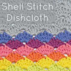 Crochet Shell Stitch Dishcloth Crochet Stitches Free, Crochet Shell Stitch, Crochet Cable, Crochet Dishcloths, Afghan Crochet Patterns, Free Crochet, Knitting Patterns, Simple Crochet, Crochet Afghans