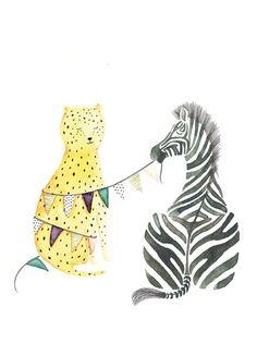 Leopard and Zebra Zebra Illustration, Watercolor Illustration, Illustration Styles, Easy Watercolor, Watercolor Animals, Zebra Drawing, Tropical Animals, Baby Zebra, Zebras