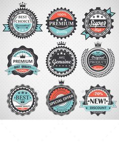 Set of Quality, Guaranteed, Genuine Badges by yayasya This vector is saved in with color space in RGB. Also there AI Illustrator, PNG, JPG image and Photoshop PSD format. S Logo Design, Coin Design, Badge Design, Badge Template, Farm Logo, Drinks Logo, Badge Logo, Clip Art, Vintage Labels