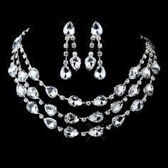 Silver Clear Rhinestone & Acrylic 3 Strand Necklace & Earrings Set - Weddingmountain.com  $13.50