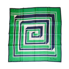 Jean Desses green, navy & white geometric print silk scarf, 1970s