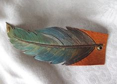 Hand Painted Handmade Leather Feather Cuff by TandJLeatherAccents