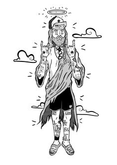 Mano do céu on behance tattooed jesus vector illustration vector art hatches tattoo drawings, sprouts Trippy Drawings, Cartoon Drawings, Cartoon Art, Cute Drawings, Arte Dope, Dope Art, Satanic Art, Tattoo Flash Art, Dot Work