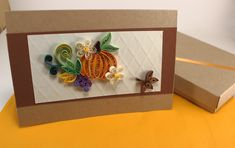 Thanksgiving Card Fall Greeting card Quilled Pumpkin Card   Etsy