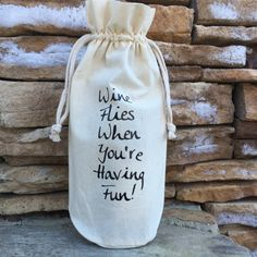 muslin wine bag, funny wine quote, muslin gift bag, free shipping, hostess gift…