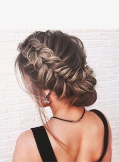 Beautiful crown braids with updo wedding hairstyle inspiration #weddinghair #hairstyle #hairideas #bridalhair #frenchchignon #messyupdo #braids #braidupdo #braided #updohairstyles #dutchbraids