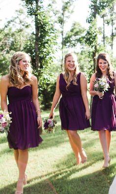 Eggplant purple wedding inspiration. Chic, short chiffon bridesmaid dresses with mix n match necklines. | Kennedy Blue Bridesmaids | Sarah Libby Photography