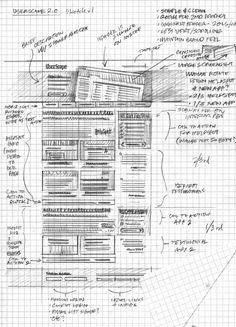 20 Effective Examples of Web and Mobile Wireframe Sketches - Speckyboy Design Magazine Interaktives Design, Design Food, Sketch Design, Graphic Design, Design Elements, Interaction Design, Maquette Site Web, Design Presentation, Design Living Room