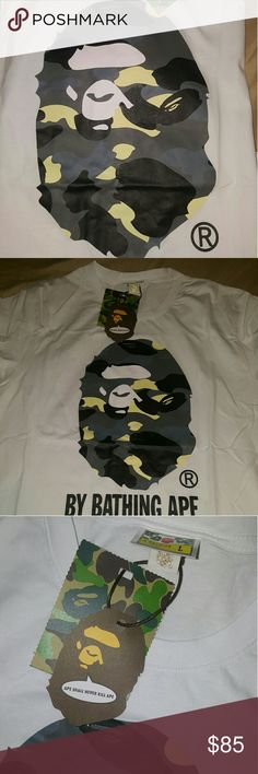 Bape Large Ape T-shirt  (Large) Authentic Bape Large Ape Tee  Size Large Never Worn!  $85FIRM  #SeriousInquiryOnly #NeedGoneAsap bape Shirts Tees - Short Sleeve