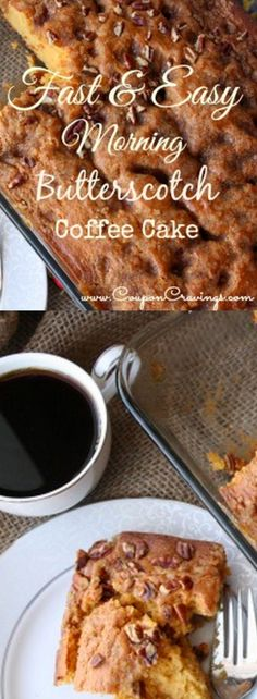 This easy coffee cake recipe is the best coffee cake recipe you'll have and perfect for Christmas morning breakfast . . . . it really is such an easy breakfast. Although it's great out of the oven (the top is crumbly and a bit crunchy) it's perfect the next day, too! The easy breakfast recipes that are also cake mix recipes are so good and this one is no exception. Great to add to your list of brunch recipes and brunch ideas.