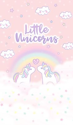 Little twinkle magical miracle horse with soft sweet pastel pink purple violet diamond color rainbow cloud stars sky and doodle heart cute kawaii lovely animal