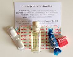 Need inspiration for a gift for your guests.... why not put together a hangover kit