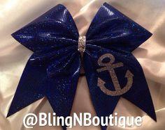 Blue Anchor Cheer Bow <3