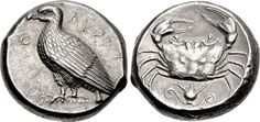 Sicily, Akragas. Circa 460-450/46 BC. Tetradrachm (Silver, 24mm, 17.38 g 12). C - C (partially retrograde) Eagle standing left with closed wings. Rev. Crab; below, lotos flower on double spiral vine; all within a shallow circular incuse. Randazzo 15. Rizzo pl. I,11-12. SNG ANS 981.