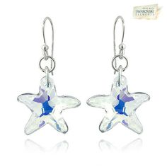 Sterling Silver Swarovski Elements Starfish Crystal Dangle Earrings - Aurora Borealis at You Save: $69.99 (87 %)You Save: $30.00 (67 %) off Retail!
