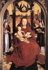 Hans Memling a Mare de Déu i el Nen entre dos àngels músics Nelson-Atkins Museum