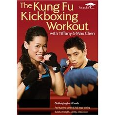 """The Kung fu kickboxing workout"" with Tiffany and Max Chen. Two champion fighters show viewers exercise routines that incoporate kung fu moves. Kickboxing Workout, Workout Dvds, Workout Videos, Cardio, Workout Fitness, Exercise Videos, Exercise Routines, Kick Boxing, Kung Fu"