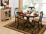 The best part about this Kenton adjustable-height dining table with leaf may be its ability to mix and match styles so well! Its dark walnut and ebony finishes serve up a casual two-toned look, plus its smaller scaling makes it a smart choice for an eat-in kitchen or breakfast nook. But this dining table also features more formal design elements, like a gorgeous pedestal base. And if you're space conscious, you'll appreciate the self-storing butterfly leaf—it provides extra table space ...