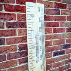 Fully engraved personalised solid oak wooden height chart ruler with cms and inches. by Jellibabies1 on Etsy