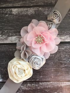 Pink grey and ivory maternity sash chiffon flowers by Headbandspot