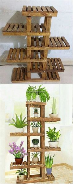 Lets craft a pots stand project for yourself this weekend. The pattern of the whole project is very catchy and gives an idea of how strong aesthetic sense you have. It do add the bottom finishing of t Pallet Crafts, Diy Pallet Projects, Pallet Ideas, Wood Crafts, Recycled Pallets, Wood Pallets, Pallet Benches, Pallet Couch, Pallet Tables