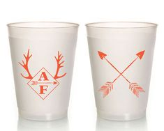 Antler Monogrammed Plastic Party Cups Rustic Wedding Cups Crossed Arrows Wedding Cups Wedding Cups Frosted Cups 1130 by SipHipHooray