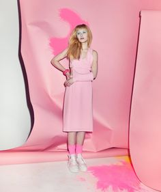Adapt this idea of colour-on-colour; if we go for the idea of different colours on our mannequin we could put them against different backdrops of the same colour (ie: blue clothes against a blue backdrop etc)  Imogen Poots / Bullet Magazine
