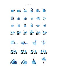 Series of large icons that work as spot illustrations as well. All the pieces are related with business and financial concepts.Project based on the BBVA Corporate Illustration Manual that I've developed years ago.