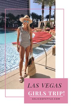 Girls trip in Vegas! My friends and I had so much fun on the perfect girls trip! Click to see what we did, where we stayed, and what I wore! Girls trip ideas | Las Vegas things to do | Las Vegas outfit | Las Vegas tips | Girls trip outfits | Cute one piece swimwear | Summer outfits | Summer fashion