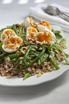 Karen Martini's tuna, brown rice, sumac and green bean salad with eggs (recipe here).