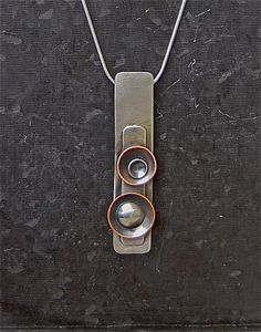 Sterling Silver and Copper Rectangle Pendant