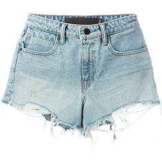 Alexander Wang Detroyed Denim Shorts (1.350 BRL) ❤ liked on Polyvore featuring shorts, blue, denim shorts, alexander wang, bleached denim shorts, cotton shorts and blue jean short shorts