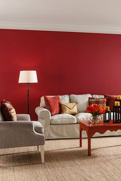 2015 colour palette all about self expression: cil paint. Living Room Red, Paint Colors For Living Room, Home And Living, Living Room Decor, Bedroom Red, Red Bedrooms, Red Home Decor, Red Walls, Colorful Interiors