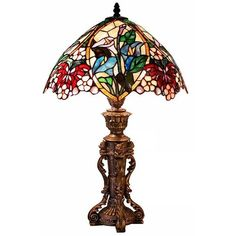 Tiffany Style Flower Design Table Lamp ($105) ❤ liked on Polyvore featuring home, lighting, table lamps, multi, tiffany style stained glass, flower lights, warehouse of tiffany lighting, floral table lamp and floral lamps
