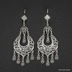 BIG LUXURY FILIGREE STYLE 925 STERLING SILVER GREEK HANDMADE ART EARRINGS 2 6/8 #IreneGreekJewelry #Chandelier
