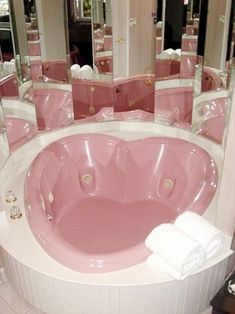 """Pale pink heart-shaped whirlpool – when """"mirror the hell out of the bathroom"""" … – Bathroom decor ideas - Bedroom Decor ideas Girl Bedroom Designs, Girls Bedroom, Bedroom Decor, Wall Decor, Home Design, Interior Design, Interior Ideas, Kawaii Room, Pink Houses"""