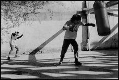 Abbas 1983 Coahuila. Monclova. Boxers train in a gym set in a courtyard