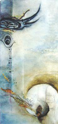 #dialogos 2, #Aquarell auf #Holz mit #Materialcollage, ca. 50 x 100 cm, #blau, #Weltreise
