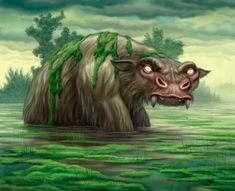 The Bunyip...The bunyip, or kianpraty, is a large mythical creature from Aboriginal mythology, said to lurk in swamps, billabongs, creeks, riverbeds, and waterholes. The origin of the word bunyip has been traced to the Wemba-Wemba or Wergaia language of Aboriginal people of South-Eastern Australia.