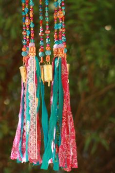 Turquise pink and orang wind chimes-beads mobile-bell beads décor-windchimes-unique wind chime-outdoor garden decorations-suncatcher glass-bead suncatchers-sun catcher-sun chime-unique dreamcatcher I like the sound of bells and to look at sparkling crystal beads I love tassels and i