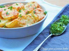 Herkulliset cheddar-juustoperunat — Peggyn pieni punainen keittio Humble Potato, Cheddar, Cantaloupe, Healthy Recipes, Healthy Food, Side Dishes, Vegetarian, Dinner, Fruit