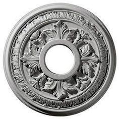 "Ekena Millwork CM15BA 15.375"" Wide Baltimore Ceiling Medallion White Accessory Ceiling Medallions Ceiling Medallions"