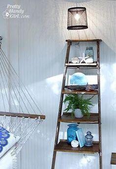 DIY Build Ladder Shelves - DIY Ladder Decorations