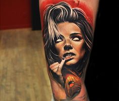 WOman horror face tattoo by Sergey Shanko